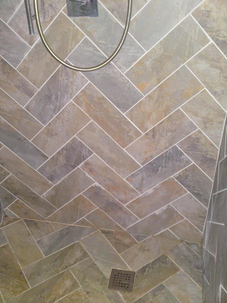 Herringbone hand cut from larger format tile to walls and floor herringbone hand cut from larger format tile to walls and floor in wetroom 2 doublecrazyfo Image collections