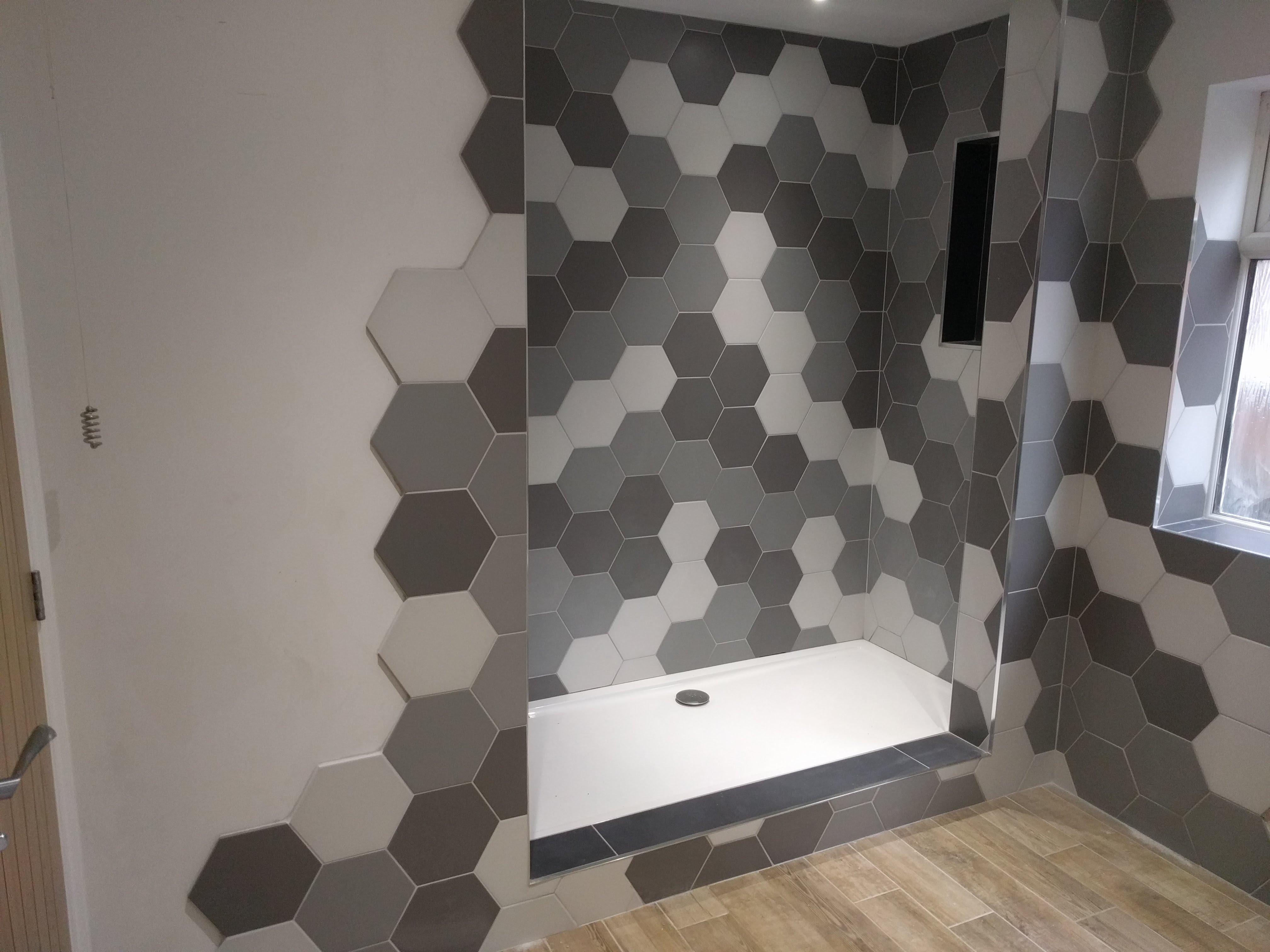 Finished bathroom hexagonal tiles tilers talk - How do you tile a bathroom floor ...